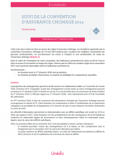Indicateurs de suivi de la convention d'assurance chômage 2014 - 1er trimestre 2019